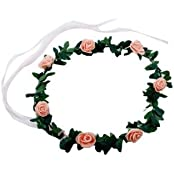 Floral Tiara Rose - Peach , Floral Crown , Floral Crown Headband , Adult Party Supplies , Party Props (Pack Of...