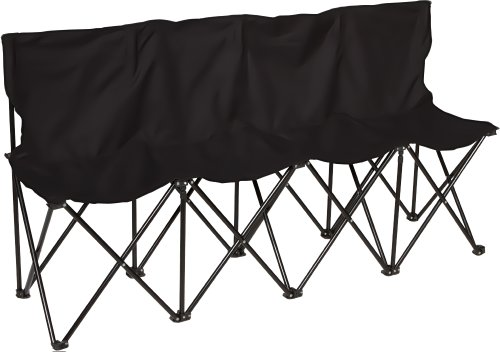 Trademark Innovations 4-Person Seater Folding Sports Sideline Bench, Black