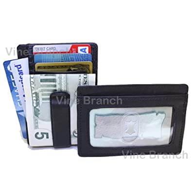 Lambskin Leather Men's Mini Wallet ID Credit Card Holder with Spring Clip