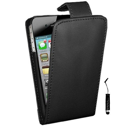 Neu PHOENIX iPhone 4 4s Hülle schwarz PU-Leder Flip Case - Schwarz & schwarz Griffel