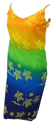 La Leela Multicolor Turtle Printed Swim Wrap Swim Sarong Beach