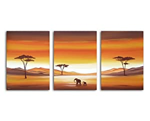 African Original Landscape Canvas 3 Set Painting - By SCA ART from SCA ART