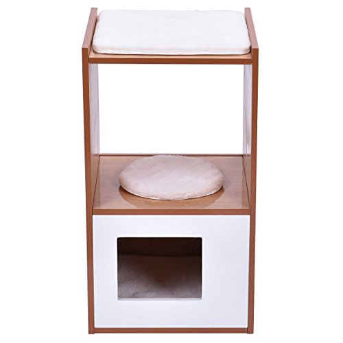 Tangkula Double Deck Cat Box Cushion Cleaning Enclosure Hidden Pet Bed Furniture Wood