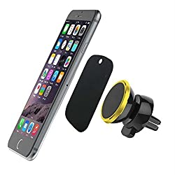 Car Mount,SCHITEC Universal 360 Rotating Magnetic Car Air Vent Mount Holder,for Galaxy S7 S6 Edge Note 5 4 LG G5 G4 iPhone 6 6S SE Plus Nexus 5/4, 5X and More (Gold)