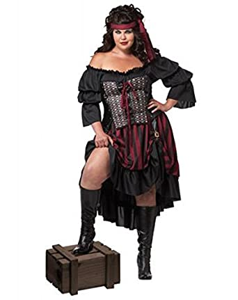 California Costumes Women's Plus-Size Pirate Wench Plus, Black/Burgundy, 1X