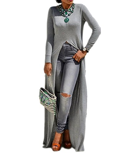 Womens Sexy High Front Split Long Sleeve Crewneck Clubwear Cocktail Maxi Dress Gray M