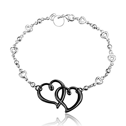 amberma-black-eternal-love-double-heart-charm-pendant-bracelet-sterling-silver-plated-fashion-women-