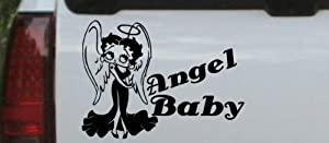 6in X 8.2in Black -- Betty Boop Angel Baby Cartoons Car Window Wall Laptop Decal Sticker