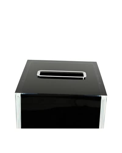 Gedy by Nameek's Thermoplastic Resin Square Tissue Box Cover, Black As You See