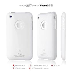 elago S3 EL-S3-WH Case for iPhone 3G 3GS with Dock Adapter and Logo Film (White)