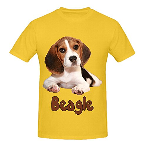 the-beagle-dog-mens-crew-neck-cool-t-shirts-yellow