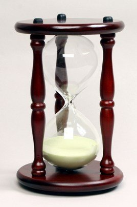 G.W.Schleidt 30 Minute Sand Timer – Yellow Sand in Cherry Stand