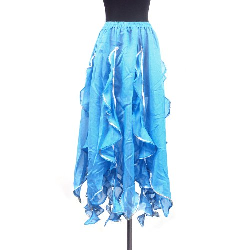Belly Dance Tango Salsa Long Chiffon Sequin Edge Ruffle Skirt (Flamenco Dance Costumes For Girls)