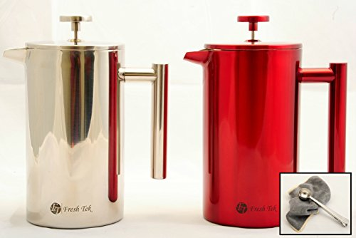 FreshTek Stainless Steel French Press Coffee Espresso Maker with Scoop and Polishing Cloth - 34 ...