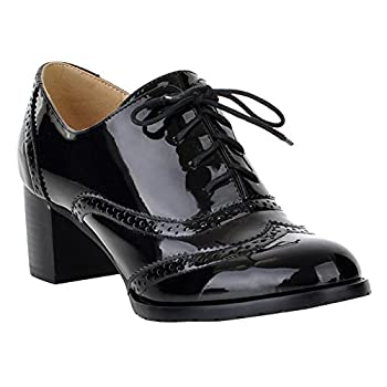 Women's Oxford Dress Pumps WGWJM-Patent Leather-Mid-heel-Hallowmas Shoes