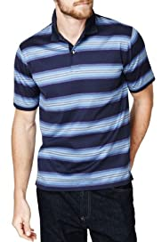 Blue Harbour Pure Mercerised Cotton Varied Striped Piqué Polo Shirt [T28-6423B-S]