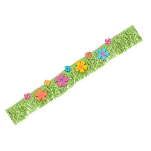 "Amscan Tropical Hibiscus Fringe Banner with Paper Fabric Flowers, 70"" x 9"", Green/Orange/Pink/Blue"