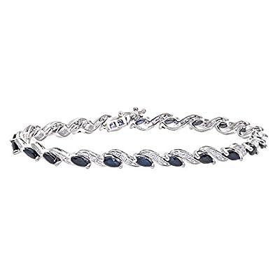 Ariel Women's Diamond and Sapphire Bracelet, 9ct White Gold, Prong Setting 0.05 Carat Diamond Weight, Model PBC2520