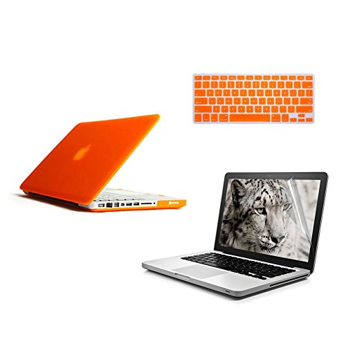 [3 In 1 Bundles] Icrown 2014 New Arrival Orange Matte Rubber Coated See Through Hard Shell Skin Case Cover For Aluminum Unibody 13.3 Inches Macbook Pro With Silicon Keyboard Cover?And 13 Inches Lcd Screen Protector (Not Fit For Macbook Pro With Retina Dis
