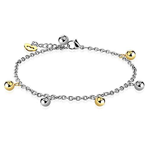 Braccialetto in argento con perline in palline e dorato ciondolo a cuore per donna (cinturino in acciaio inox bracciale da donna uomo bracciale braccialetto acciaio chirurgico drachensilber)