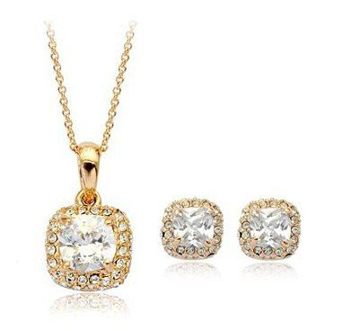 18ct Gold Swarovski Zirconia Earrings & Pendant Set