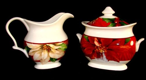 222 Fifth Poinsettia Holly Red Christmas Creamer And Lidded Sugar Bowl Set