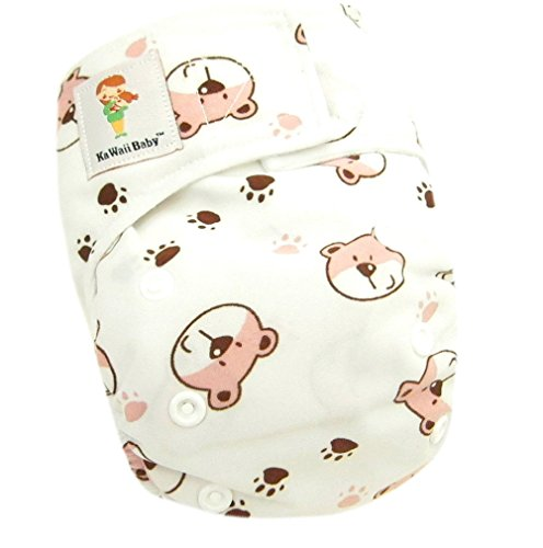 "Kawaii Baby Newborn Reusable Cloth Diaper Pure & Natural 6 - 22 Lb. With 2 Microfiber Inserts "" Bears """