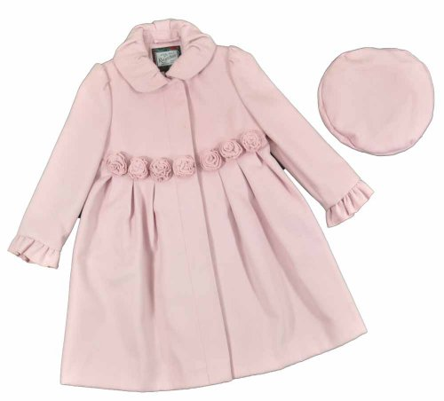 Today Rothschild Toddler Girls Pink Rosettes Wool Outerwear Coat With Hat (4T)  Best Offer