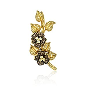 Leo Pizzo Diamond 18k Yellow Gold Floral Brooch Pin