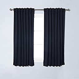 Best Home Fashion Basic Thermal Insulated Blackout Curtains - Back Tab/ Rod Pocket - Navy - 52\
