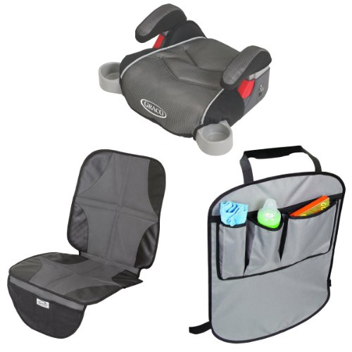 Graco Backless Turbobooster Car Seat With Car Seat Protector Mat & Back Seat Kick Protectors, Galaxy front-222587