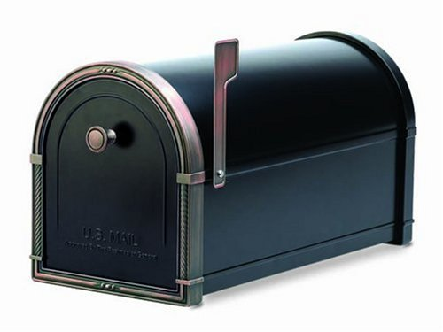 Architectural Mailboxes Coronado Mailbox with Antique Copper Accents, Black