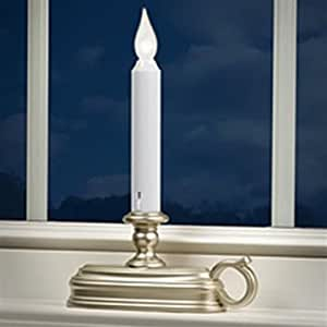 white led window candle pewter base battery operated auto sensor. Black Bedroom Furniture Sets. Home Design Ideas