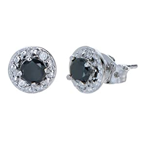 Vir Jewels Sterling Silver Black Diamond Stud Earrings (1 CT)