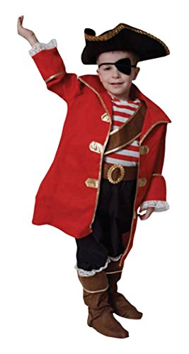 Dress Up America 204-T - Costume Deluxe da Capitano dei Pirati Bambini 3-4 Anni, Multicolore