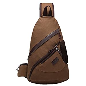 ZeleToile® XB-02 Pro New Popular Canvas Chest Bag Triangle Bag Messenger Bags Multi Purpose School Sports Traveling Gym Cycling Biking Bag Unbalance Backpack Shoulder Sling Chest Bicycle Pack Bags - Coffee (Coffee: 42CM × 29CM × 14CM)