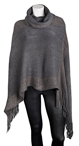 Sportoli™ Women's Thick Warm Knitted Winter Shawl Cape Poncho Wrap with Cowl Neck - Dark Grey (One Size) (Knit Cowl Poncho compare prices)