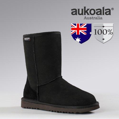 Australia Men Boots Aukoala Sheepskin Classic Short Winter Boots Black(7)