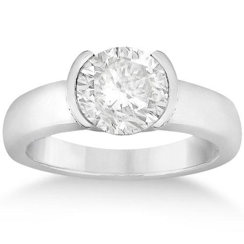 Half-Bezel Set Solitaire Diamond Engagement Wedding Ring Setting For Women In Platinum
