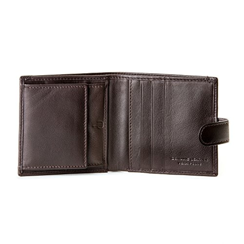 DV Portafoglio uomo Piccolo in Vera Pelle con Bottone Automatico e Portamonete Porta carte Marrone scuro