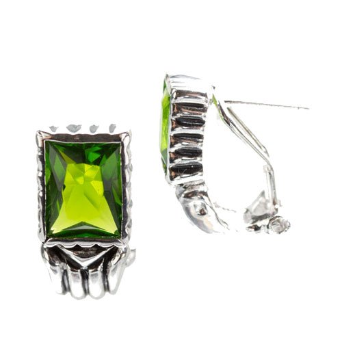 Finley's 925 Sterling Silver Stud Earrings CZ Peridot Square Gemstone Bezel Setting - Incl. ClassicDiamondHouse Free Gift Box & Cleaning Cloth