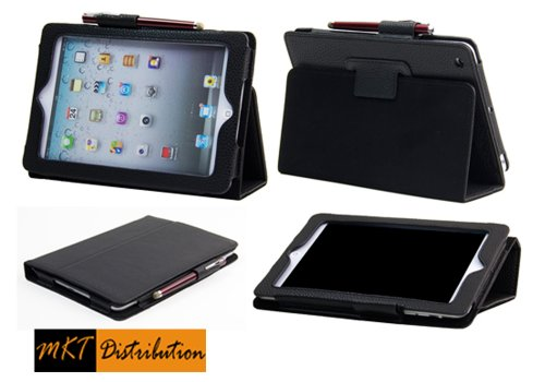 """Ipad Mini Case - The New Mini Ipad 7.9 Inch / Ipad Mini 7.9"""" Leather Case Cover And Flip Stand With Stylus Loop And Premium Interior - (Black) Automatically Wakes And Puts Your New Ipad Mini To Sleep Every Time - By Mkt Ipad Mini Cases"""