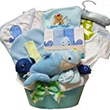 Whale Tails Fishing Fun Blue Baby Boy Gift Basket
