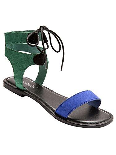 Balsamik - Sandali piatti stringati, pelle scamosciata o liscia - - Size : 39 - Colour : Verde/Blu/Nero