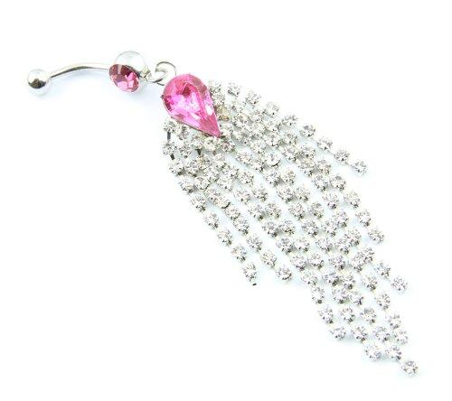 316L Surgical Steel 14G Dazzling Rose Pink Gem Rhinestone 9-Tassels Chain Dangle Navel Belly Bar Ring Barbell Body Piercing