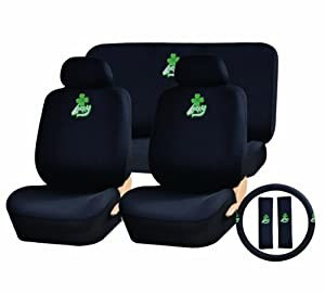 11 piece auto interior gift set lucky clover leafe irish pride a set of 2 black. Black Bedroom Furniture Sets. Home Design Ideas