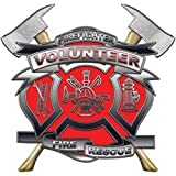 """4"""" Volunteer Firefighter Red Maltese Cross Decal with Axes REFLECTIVE"""