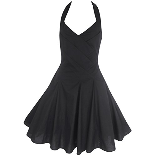 50's STYLE ROCKABILLY COTTON HALTER NECK PARTY DRESS