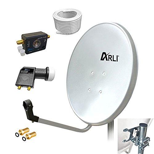 60 cm HD Digitale SAT Anlage WEISS Twin LNB SATFINDER 10 m Kabel 2 Teilnehmer Antenne