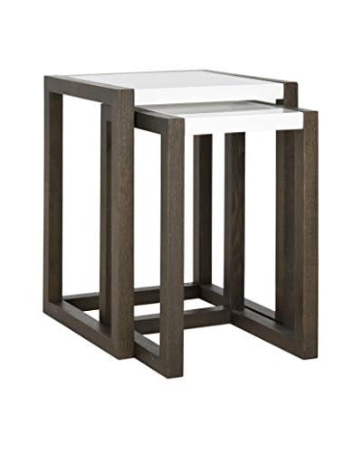 Safavieh Egan Stacking Table, White/Dark Brown